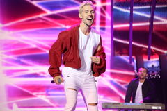 Latvian pop singer Markus Riva performs during the 25th Slavyansky Bazar Festival Royalty Free Stock Images