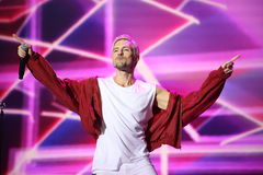 Latvian pop singer Markus Riva performs during the 25th Slavyansky Bazar Festival Stock Photography