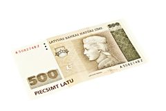Latvian State five hundred lats banknotes. Royalty Free Stock Photo