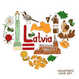 Latvian symbols in heart shape concept Stock Image