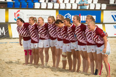 Latvian women`s national rugby team. MOSCOW, RUSSIA - JULY 22-23, 2017: Latvian women`s national rugby team on the European Beach Fives Rugby Championship 2017 Royalty Free Stock Photo