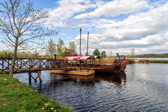 Latvian wooden sailing boats near small pier at Liepkalni town, Latvia Stock Photo