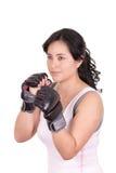 Latynoska agresywna kobieta z bokserskimi rękawiczkami Zdjęcie Stock