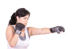 Latynoska agresywna kobieta z bokserskimi rękawiczkami Fotografia Royalty Free