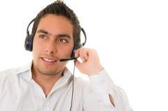 Latynoski centrum telefoniczne operator odizolowywający na bielu fotografia royalty free