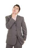 Latynoski główkowanie mężczyzna odizolowywający na bielu Obrazy Royalty Free