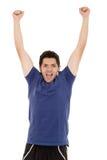 Latynoski mężczyzna wygranie, odświętność i Zdjęcia Stock