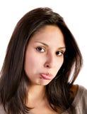 Latynoskiej kobiety smutny wyrażenie zdjęcia stock
