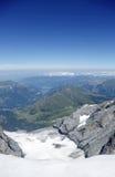 Lauberhorn, Tschuggen, montagne di Mannlichen dall'osservatorio della Sfinge di Jungfraujoch Immagini Stock