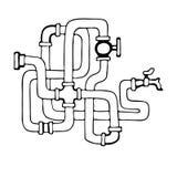 Laubsäge von Wasserleitungen stock abbildung