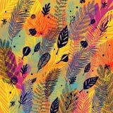 Laubwechselnd, Entblätterung, modischer Herbstmehrfarbenhintergrund, Laubfall Botanische Illustration des Vektors, großes Design Lizenzfreie Stockfotos