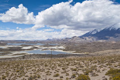 Lauca National Park, Chile. Views of Cotacotani Lake and Parinacota volcano at Lauca National Park, Chile Royalty Free Stock Photography