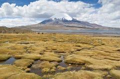 Lauca National Park, Chile. Views of Chungara Lake and Parinacota volcano, Lauca National Park, Chile Stock Photo
