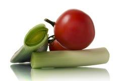 Lauch und Tomaten Lizenzfreies Stockfoto