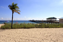 Lauderdale-από-ο-θάλασσα, παραλία της Φλώριδας και αποβάθρα Στοκ φωτογραφία με δικαίωμα ελεύθερης χρήσης