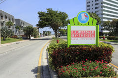 Lauderdale-By-The-Sea, Florida Entry Sign Stock Images
