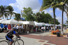 Lauderdale by the Sea, Florida, Craft Festival. LAUDERDALE-BY-THE-SEA, FLORIDA - OCTOBER 28: Many people looking in many outdoor tents filled with local art at stock photos