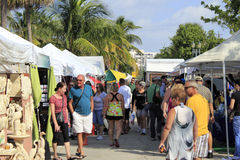 Craft Festival in Lauderdale By the Sea, Florida. LAUDERDALE-BY-THE-SEA, FLORIDA - OCTOBER 28: People looking at the 14th annual craft festival where local royalty free stock images