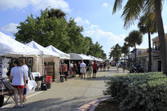 Lauderdale By the Sea, Florida Craft Festival. LAUDERDALE-BY-THE-SEA, FLORIDA - OCTOBER 28: People shopping early at the annual craft festival where local stock image