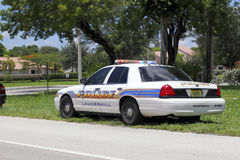 Lauderhill Police Car, Florida. Lauderhill, FL, USA - July 11, 2014: One Lauderhill, Florida police car pulled another car over and was stopped behind it along Royalty Free Stock Photography