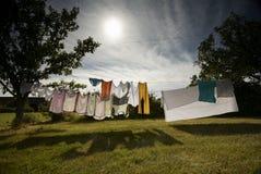 Laudery que cuelga para secarse Imagen de archivo libre de regalías
