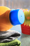 Laudry and detergent bottle Stock Photography