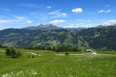 Lauenenhorn and green landscape Royalty Free Stock Photo