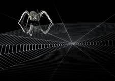 Lauernde metallische Spinne und Netz Stockfoto