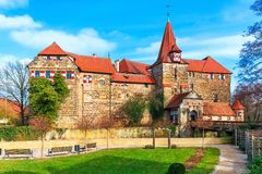 Lauf an der Pegnitz, Germany. Scenic spring view of the ancient medieval castle architecture building in the Old Town of Lauf an der Pegnitz in Nurnberger Land Stock Photos