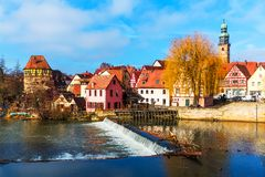 Lauf an der Pegnitz, Germany. Scenic spring view of the Old Town pier ancient medieval architecture of Lauf an der Pegnitz in Nurnberger Land district of Bavaria Royalty Free Stock Photo
