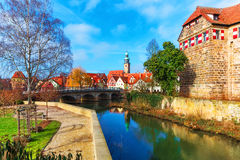 Lauf an der Pegnitz, Germany. Scenic spring view of the Old Town pier ancient medieval architecture of Lauf an der Pegnitz in Nurnberger Land district of Bavaria Stock Photo