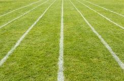 Laufbahnlinien markiert auf dem Gras stockfotografie