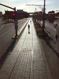 Laufen auf Bahnen Stockfotos