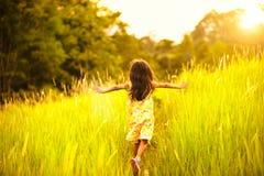 Laufen auf Wiese mit Sonnenuntergang Lizenzfreie Stockfotos