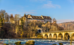 Laufen Castle and railway viaduc at Rhine Falls Stock Photos