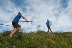 Laufen in den Bergen Stockfoto