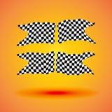 Laufen der gesetzten Sammlung des Hintergrundes der Illustration mit vier Zielflaggen Stockfotografie