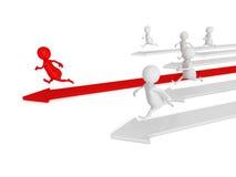 Laufen der Männer 3d Konzept der menschlichen Rasse des Wettbewerbs Stockfotos