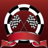 Laufen des Emblems mit checkered Markierungsfahnen und roter Fahne Lizenzfreies Stockfoto