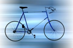 Laufen des Fahrrades im Blau Stockfotografie