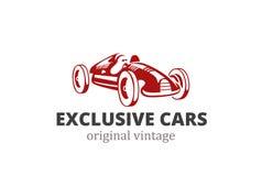 Laufen des Retro- Auto-Logozusammenfassungsdesigns Weinlesefahrzeug Stockfoto