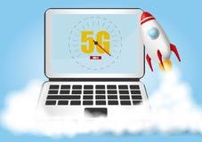 Laufen Sie Rakete an Rauchwolken Geschwindigkeitskonzept des drahtlosen Netzwerks, Entwicklung 5G Laptop auf blauem Hintergrund R stock abbildung