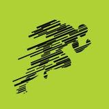 Laufen Sie und Mann von den Linien laufen lassen, abstraktes Schattenbild Lizenzfreie Stockfotos