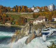The Rhine Falls in autumn. Laufen, Switzerland - 18 October, 2017: the Rhine Falls, view from the Laufen castle. The Rhine Falls is the largest waterfall in Royalty Free Stock Photo