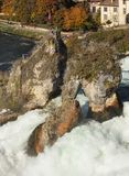 Rhine Falls in Switzerland, view from the Laufen castle Stock Photos