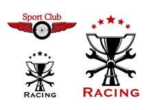 Laufen und Motorsportsymbole oder -ikonen Lizenzfreie Stockfotografie