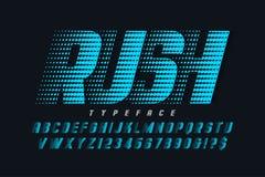 Laufen von von von von Anzeigenschriftart, -alphabet, -buchstaben und -zahlen stock abbildung