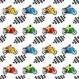 Laufen von Motorrädern und von Zielflaggen Stockbild