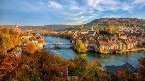 Laufenburg Old town on Rhine river, Switzerland - Germany border stock photos