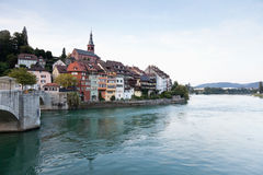 Laufenburg,View of bridge above river rhine Royalty Free Stock Image